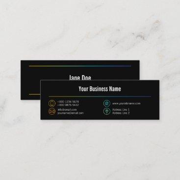 Mini Stylish Business Colorful Lines Icons Black Mini Business Card