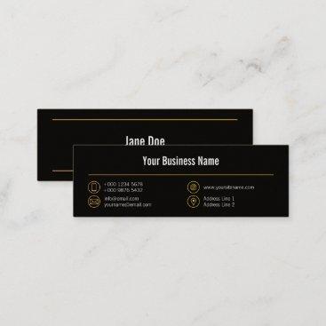 Mini Stylish Business Yellow Lines Icons Black Mini Business Card