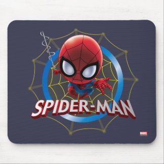 Mini Stylized Spider-Man in Web Mouse Pad