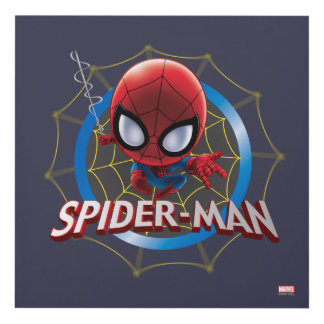 Mini Stylized Spider-Man in Web Panel Wall Art