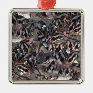 Mini Sugar Glider Collage. Metal Ornament