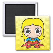 chibi supergirl, super girl, japanese toy, dc comics, comic, cartoon, super hero, heroine, little supergirl, baby supergirl, cute, kid, child, anime, Ímã com design gráfico personalizado