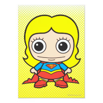 chibi supergirl, super girl, dc comics, comic, cartoon, super hero, kids, party, birthday, invitations, japanese toy, heroine, little supergirl, baby supergirl, cute, kid, child, anime, Invitation with custom graphic design