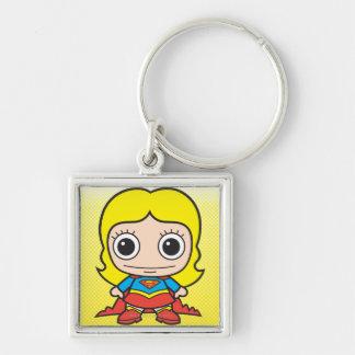 Mini Supergirl Llavero Cuadrado Plateado