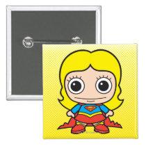 chibi supergirl, super girl, japanese toy, dc comics, comic, cartoon, super hero, heroine, little supergirl, baby supergirl, cute, kid, child, anime, Button with custom graphic design