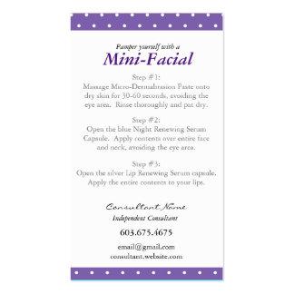 Mini tarjeta de instrucciones facial tarjetas de visita