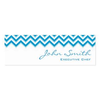 Mini tarjeta de visita azul del cocinero del zigza