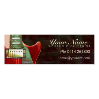 Mini tarjeta de visita de la guitarra roja eléctri