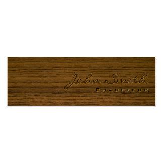 Mini tarjeta de visita de madera oscura del chófer