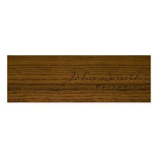 Mini tarjeta de visita de madera oscura del guitar