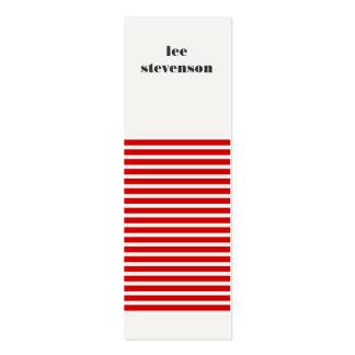 Mini tarjeta de visita rayada roja y negra