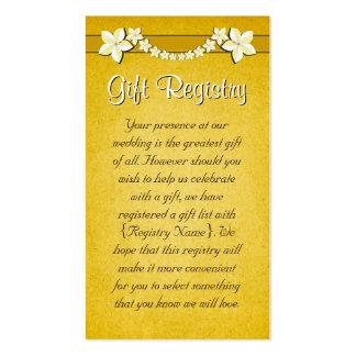 Mini tarjetas del oro del registro de regalos tarjetas de visita