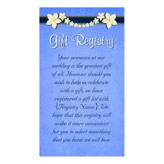 Mini tarjetas del registro de regalos azul rústico tarjetas de visita
