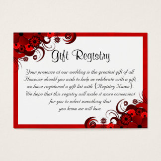 Mini tarjetas del registro de regalos floral rojo tarjetas de visita grandes