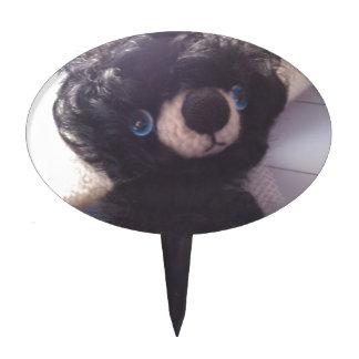 mini teddy bear black blue eyes cake toppers
