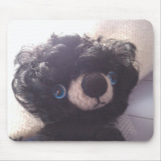 mini teddy bear black blue eyes mouse pad