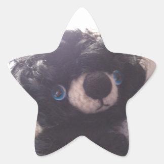 mini teddy bear black blue eyes star sticker