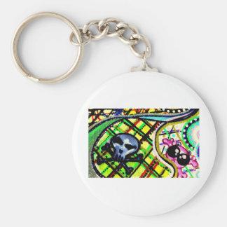 mini têtes de mort basic round button keychain