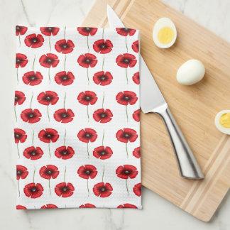 Mini toallas de cocina rojas de las amapolas