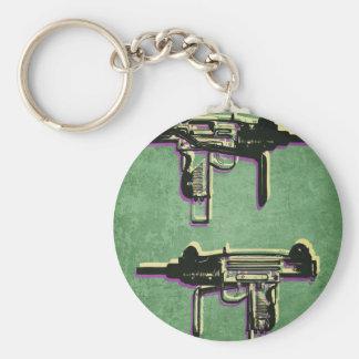 Mini Uzi Sub Machine Gun on Green Basic Round Button Keychain