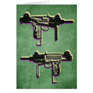 Mini Uzi Sub Machine Gun on Green Card