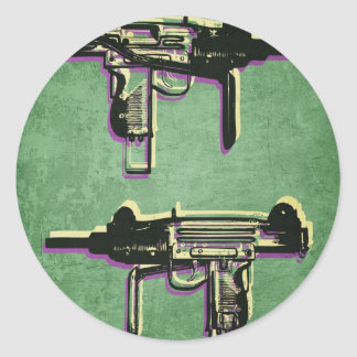 Mini Uzi Sub Machine Gun on Green Classic Round Sticker