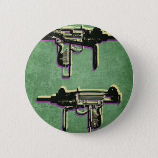 Mini Uzi Sub Machine Gun on Green Pinback Button