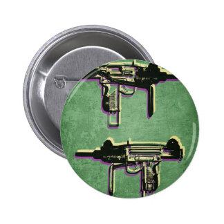 Mini Uzi Sub Machine Gun on Green Pinback Button