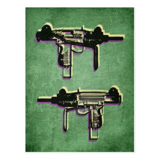 Mini Uzi Sub Machine Gun on Green Postcard