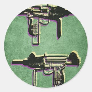 Mini Uzi Sub Machine Gun on Green Round Stickers