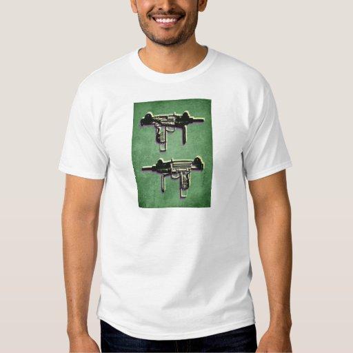 Mini Uzi Sub Machine Gun on Green Tee Shirt
