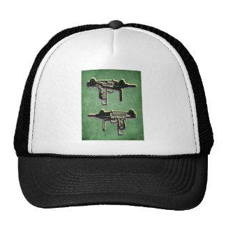 Mini Uzi Sub Machine Gun on Green Trucker Hat