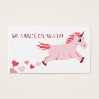 Mini Valentine's Day Card Pink Unicorn With Hearts