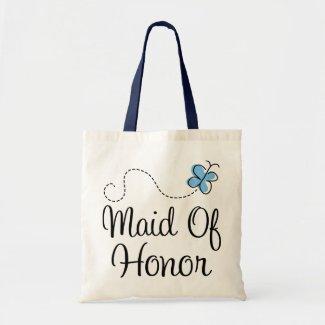 Mini Wedding Day Maid Of Honor Blue Tote Bag bag