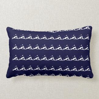 mini white DOLPHIN  on navy blue pillow