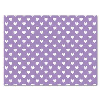 """Mini White Hearts on Purple 15"""" X 20"""" Tissue Paper"""