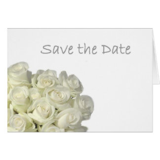 "Mini White Roses ""Save the Date"" Card"