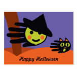 Hand shaped Mini Witch Postcard