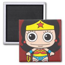 batman, cat woman, superman, wonder woman, batgirl, flash, dc comics, justice league, chibi super heroes, japanese toy cartoon, Ímã com design gráfico personalizado