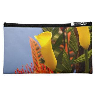 mini yellow calla lilies cosmetic bag