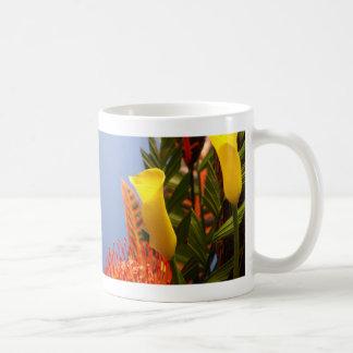 mini yellow calla lilies basic white mug