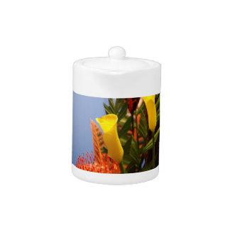 mini yellow calla lilies teapot