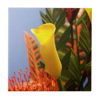 mini yellow calla lilies tile