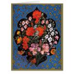 Miniatura del arte persa con escudo de flores y av tarjeton