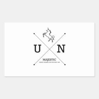 Miniatura majestuosa del escudo del unicornio X Pegatina Rectangular