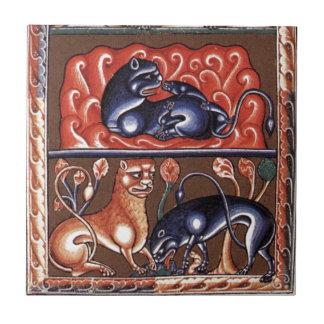 Miniatura medieval de Bestiarium del bestiario del Azulejo Cuadrado Pequeño