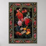 Miniatura persa de preciosas flores brillantes póster