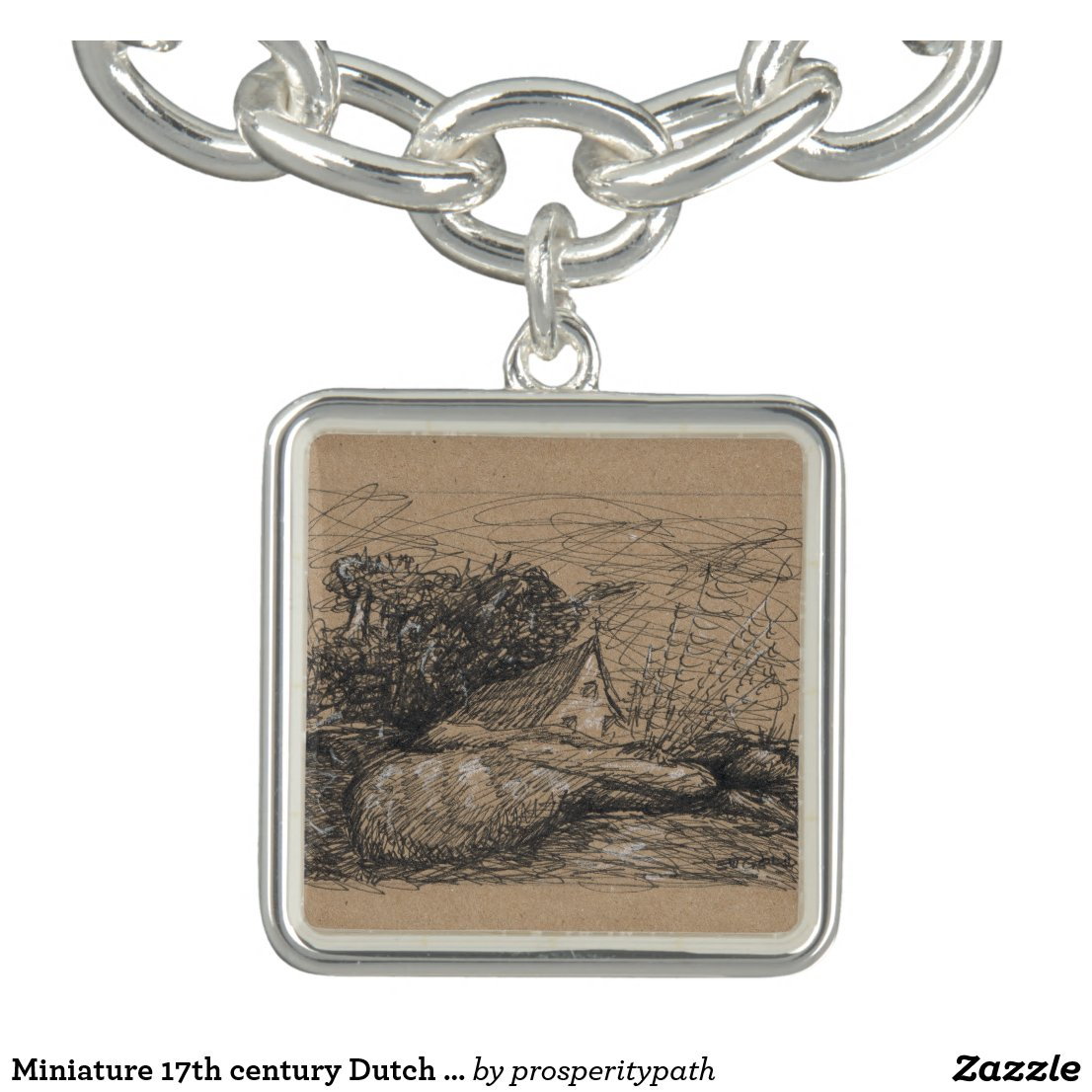 Miniature 17th century Dutch Style Landscape by EJ Bracelet