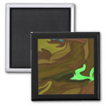 Miniature art in brown abstract fridge magnet