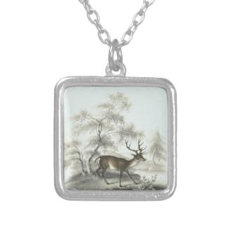 Miniature Art Vintage Deer in Winter Landscape